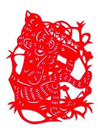 Chinese twelve zodiac paper-cut Stock Photo