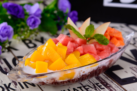 fruits in plate served with sago
