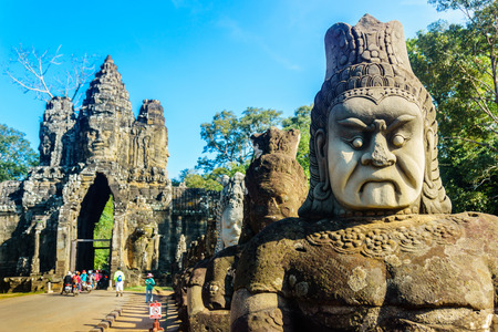 Statue of Angkor West guard