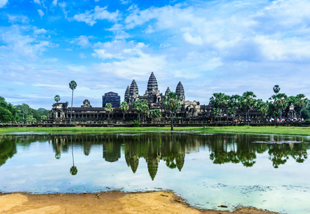 The ancient architecture of Angkor Wat Stock Photo