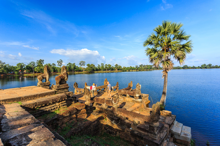 Landscape view of the Royal baths of Angkor