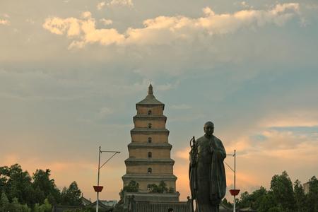 Xian big wild goose pagoda and Xuanzang statue