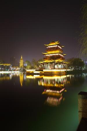 Pu Lou night view, Huaian, Qingjiang