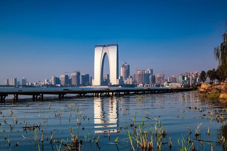 Suzhou Lake architectural landscape Stock Photo