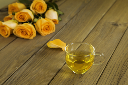 Yellow rose and scented tea