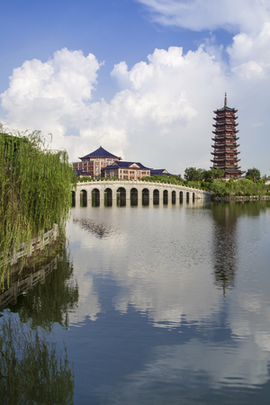Chinese campus architectural landscape Editorial