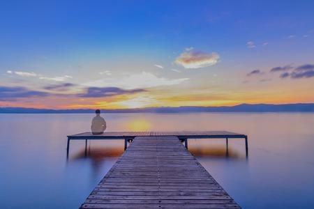 The sunrise of Fuxian Lake Stock Photo