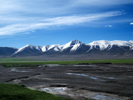 Tibet Nyainqentanglha mountain glacier plateau natural landscape Stock Photo