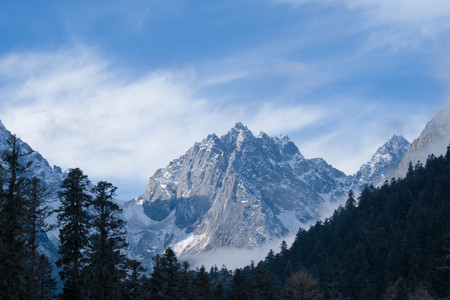 The snow capped mountains Stock Photo