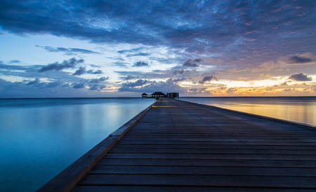 The beautiful sunrise in Maldives Stock Photo