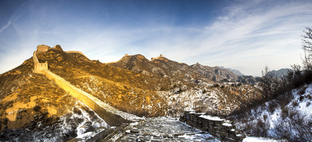 After climbing the Great Wall panorama