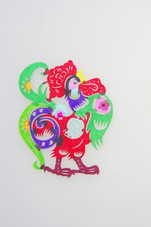 Twelve zodiac paper-cut chicken