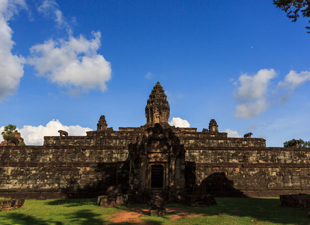 The ancient architecture of the temple in Angkor Wat