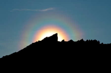 waited: This halo appeared on the ridge as we waited for sunrise at a campsite on Kilimanjaro Stock Photo