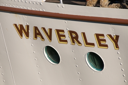 waverley: The Waverley in dock in Glasgow Scotland, showing detail of the handpainted name on its bow