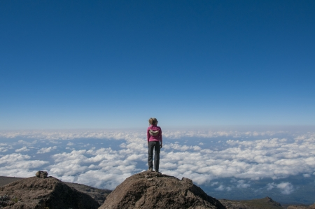 kilimanjaro: Gazing over the clouds above the African plains from the slopes of Kilimanjaro