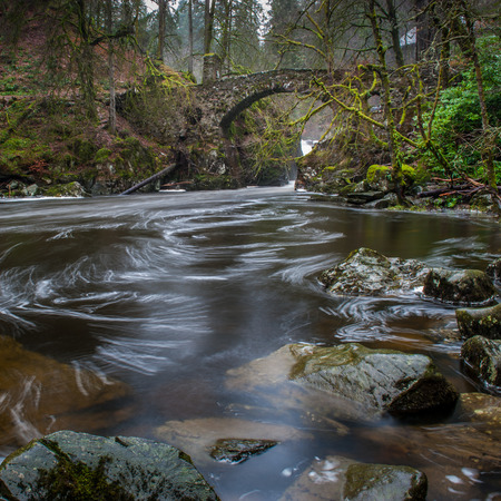 the national trust: The Hermitage Bridge near Dunkeld Scotland  It is managed by the National Trust for Scotland and is open all year round Stock Photo