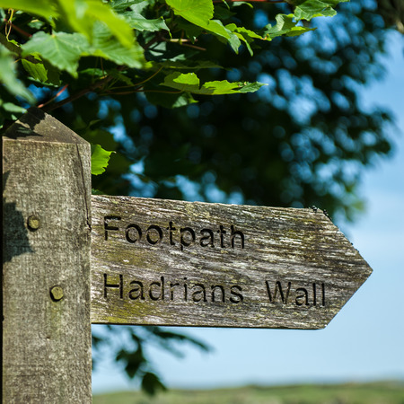 A sign post on Hadrians Wall in Northern England Stock Photo