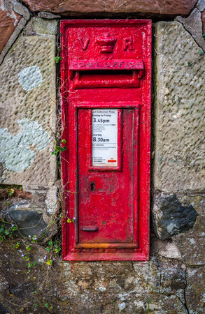 royal mail: An old rural Royal mail post box from the reign of Queen Victoria