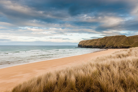 sea grass: The secluded Strathy Bay beach in the north of Scotland