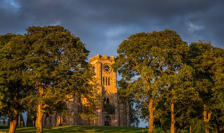 clocktower: Lennoxtown Church in evening sunshine