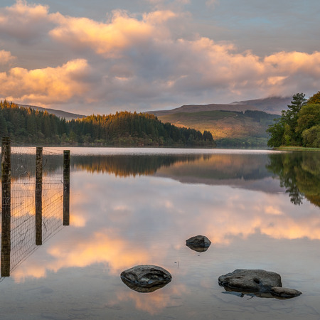ard: Sunrise on Loch Ard in Scottish Highlands