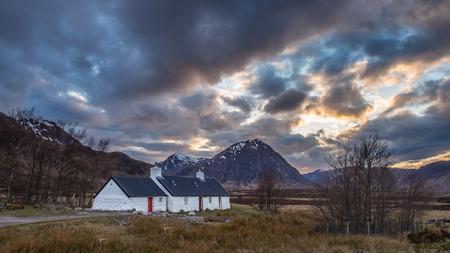 glencoe: Sunset at Blackrock Cottage, Glencoe Stock Photo