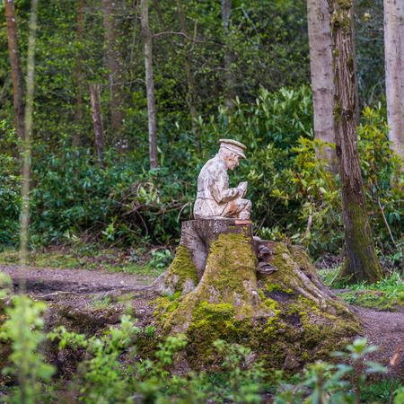 world war 1: The Rozelle Remembrance Woodland in Ayr, Scotland. The gardens were created as part of the World War 1 centenary commemorations 2014-18. The Memorial carvings remember the soldiers who died in the First World War. Stock Photo