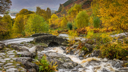 lake district england: Ashness Bridge in the English Lake District in Autumn or Fall colours