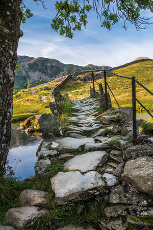 The Slaters Bridge in Little Langdale in English Lake District crossing the River Brathy