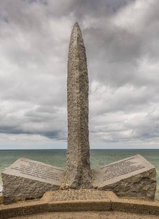 A memorial to Americans killed during WW2 at the remains of the German defences that were part of the Atlantic Wall in 1944 at Pointe du Hoc in Normandy Editorial