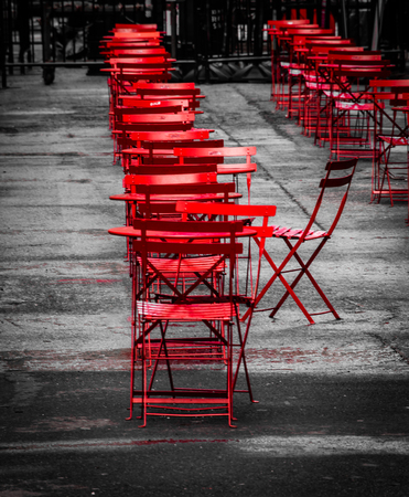 An empty street cafe in New York City after the rain stopped