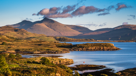 Looking over to Ben More caught with the evening light on the island of Mull In Scotland