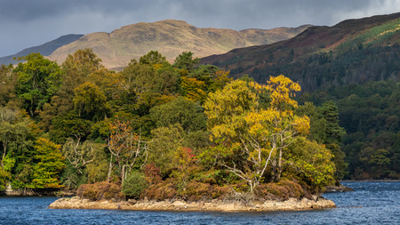 A blustery autumnal day at Loch Katrine the source of much of Glasgows drinking water.The loch is a scenic attraction in the Trossachs area of the Scottish Highlands