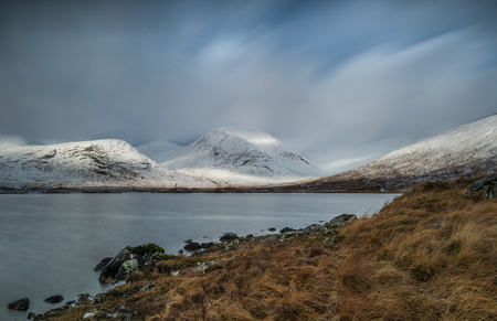 A cold wintery day at the remote Loch Dochard in the Scottish highlands