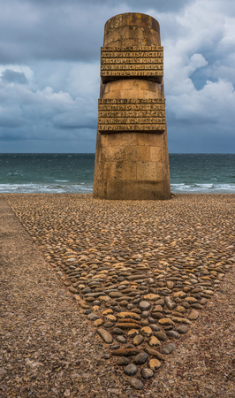 The D-Day landing area code-named Omaha Beach is one of the two American landing areas in Normandy. 5.9 kilometers long, at Colleville-sur-Mer. Editorial