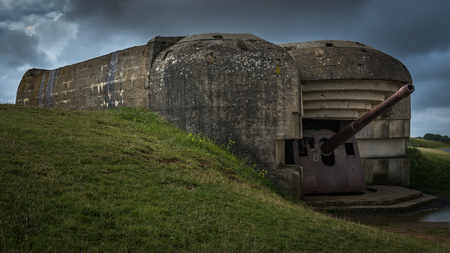 The German gun battery of Longues-sur-Mer commanded a strategic location overlooking the D-Day landing beaches. There are four reinforced concrete pillboxes each housing a long range artillery piece of 150 mm.