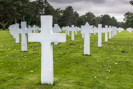 Located just above Omaha Beach at Colleville- sur-Mer, the Normandy American Cemetery was dedicated in 1956. It contains the perfectly aligned headstones of 9,387 soldiers who fell in combat