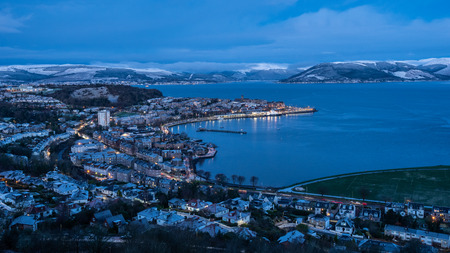 First light at Lyle Hill. A viewpoint in Greenock, Inverclyde, Scotland. Providing a panoramic view across the Clyde, its highest point is 426 feet above sea level. Stock Photo