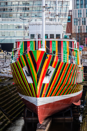 The pilot ship Edmund Gardner in Canning Graving Docks, Liverpool was Dazzle painted as part of the WW1 centenary arts commision. This process played a vital role in the protection of British naval and trade vessels during The First World War