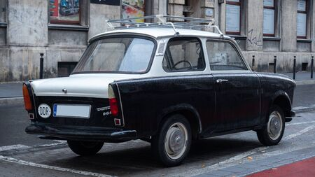 Old East German car, Trabant, sitting on a street in Budapest. It was the most common vehicle in East Germany, and was also exported to countries both inside and outside the former eastern bloc Stockfoto