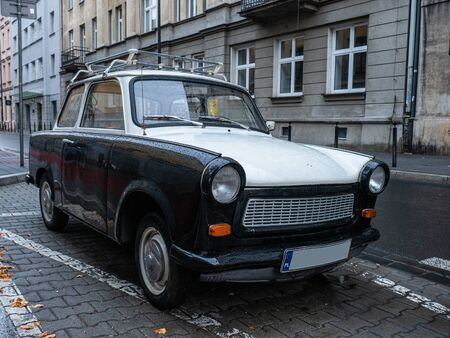 Old East German car, Trabant, sitting on a street in Budapest. It was the most common vehicle in East Germany, and was also exported to countries both inside and outside the former eastern bloc Standard-Bild