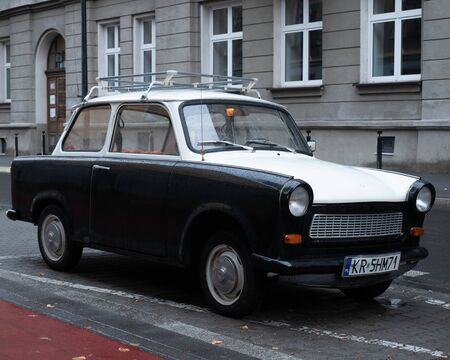 Old East German car, Trabant, sitting on a street in Budapest. It was the most common vehicle in East Germany, and was also exported to countries both inside and outside the former eastern bloc