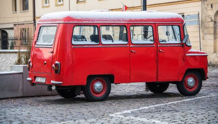 A red ZSD Nysa 522 parked in the streets of Krakow in Poland. The van was produced in the town of Nysa, Poland, from 1958 until 1994 Stockfoto