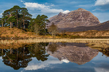 A panorama of Loch Clair with the views of  Liathach from across the water. Glen Torridon, Highlands of Scotland.