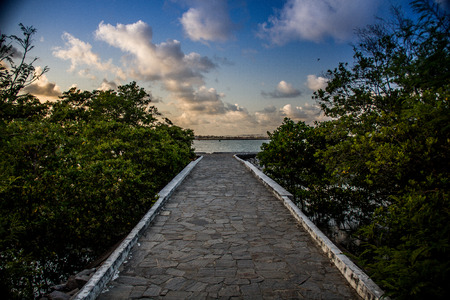rn: stone path to the sea in Natal RN, Praia do Forte