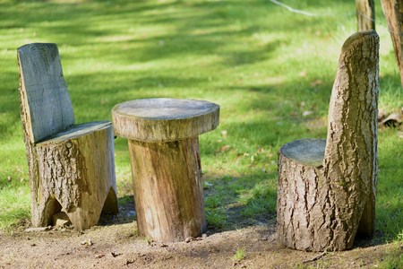 table and chairs made from a tree, it has a natural look.