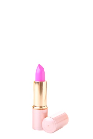 Pink lipstick isolated on white background. Cosmetic Reklamní fotografie