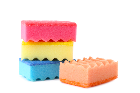 Sponges cleaning kit isolated on white background, close up Stock Photo