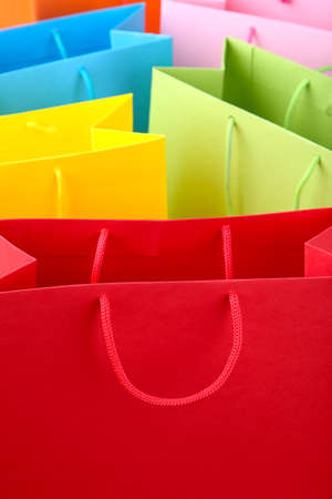 Close up of colorful paper shopping bags, macro